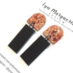 Copper Chunky Glitter & Black Rectangle Dangles