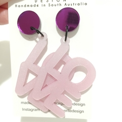 Purple Mirror & Pearlescent Pink LOVE Dangles