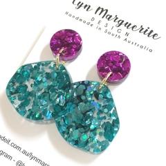 Purple & Aqua Chunky Glitter Dangles
