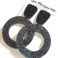 Black & Steely Grey Glitter Dangles