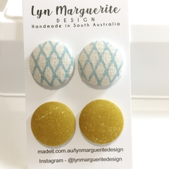 Blue Diamonds & Mustard Fabric Studs Pack