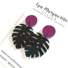 Purple Mirror & Black Monstera Leaf Dangles