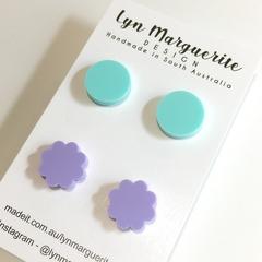 Purple & Aqua Pastel Stud Pack