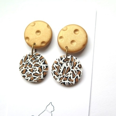 Leopard Print Gold embossed drop earrings by Sasha+Max studio
