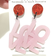 Red Glitter & Pearlescent Pink LOVE Dangles