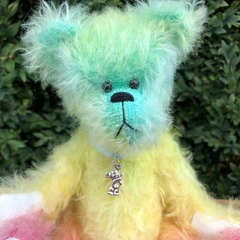 Hue - Handsewn rainbow mohair bear, adult collectible