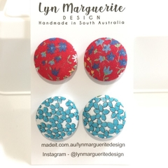 Vintage Red & Blue Floral Fabric Studs Pack