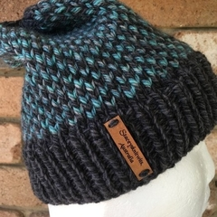 Knitted grey fair isle beanie, green teal beanie, beanie, Winter beanie grey