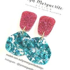 Pink & Chunky Aqua Glitter Dangles