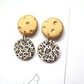 Leopard Print Gold embossed drop earrings by Sasha+Max studio