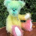 Hue - Handsewn rainbow mohair bear, adult collectible