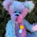 Gem - Hand sewn rainbow mohair bear, adult collectible