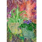 Original still life painting of potted plants. Oils and ink on canvas. Colourful