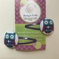 Purple owl hair clips