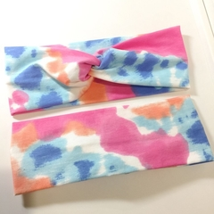 Pink, Coral, Blue & White Headband