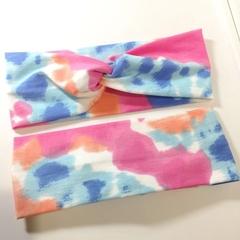 Pink, Coral, Blue & White Headband