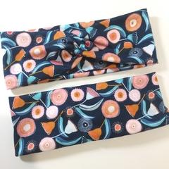 Navy, Pink & Orange Gum Blossom Headband