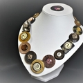 Brown button necklace - Brown Swirls