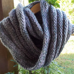 double mobius scarf. Wool, soy and bamboo fibres. Pink, grey and mauve ON SALE!!