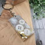 Keyring - White Gold Sparkle Buttons - Bag Tag - Luggage Identifier - Rectangle