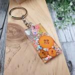 Keyring - Neon Orange Sparkle Buttons - Bag Tag - Luggage Identifier - Rectangle