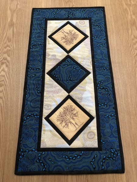 Australiana table runner- 'On Walkabout' - blue