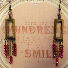 Rectangle & Crystal Chandelier earrings