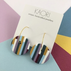 Polymer clay earrings, statement earrings in lilac, mustard and blue stripe