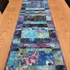 Shades of Blue Batik Table Runner