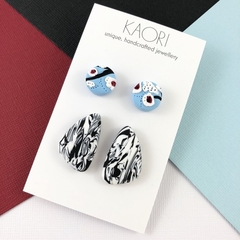 2 pack of Polymer clay stud earrings, in white and blue floral