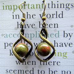 Unakite Stone Twist Earrings