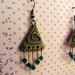 Funky Triangle & Green Crystal earrings