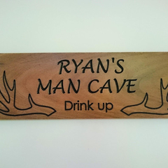 450 x 135 mm carved wooden antler sign, Deer hunting, Man cave, Birthday gift
