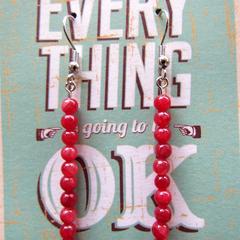 Red Stone Column Earrings