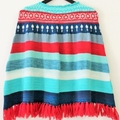 Poncho, Original Handcrafted, wool, stripes & fair Isle design