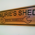 shed sign - Man cave sign - carved wooded sign - custom 450 X 135mm