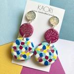 Polymer clay earrings, statement earrings in rainbow colour splash