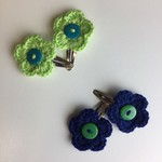 Two Pairs Flower Hair Clips | Lime & Blue | Gift Idea | Crochet | Ready to Post