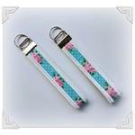 Wristlet key fob/ wrist key fob - blue floral