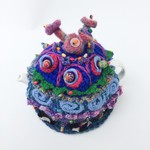 6-8 cup crochet tea cosy. Blue. Embellished. Beaded. Felt flowers. Embroidery.