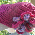 crocheted cloche with flower detail. Pure wool, burgundy. winter hat