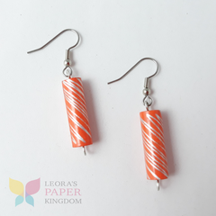 Orange Paper Bead Earrings