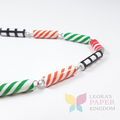 Barber Pole Paper Bead Necklace