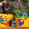 Painted plant pot - small plant pot - Set of Two