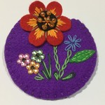 Hand Embroidered Pin/Brooch Purple with Red daisy flowers
