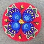 Hand Embroidered Pin/Brooch Red Tulip