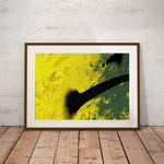Sunflower escape. Yellow and olive abstract wall art. A4 size