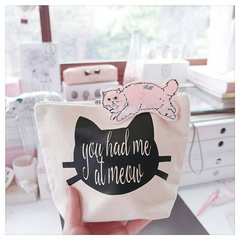 Cat Lover - Makeup Bag - Cosmetic Bag - You Had Me At Meow - Zipper Pouch - Funn