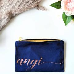 Custom makeup bag , navy bridesmaid gift , rose gold cursive name bag , Canvas Z