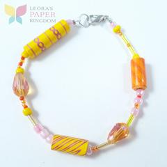Sunset Paper Bead Bracelet